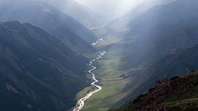 Winding River at the Bottom of the Gorge stock footage