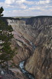 Winding River. Rapids are shown here in the winding river cutting through the canyon in Yellowstone Stock Photo