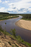 Winding River Vaga. View from steep bank near the village Undercity Stock Photos