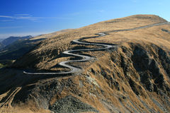Winding road. On top of the mountain - high altitude road - danger - Transalpina Stock Image