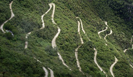 Winding Road. Aerial view of a winding road leading to Machupicchu, Peru Royalty Free Stock Photo