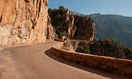 Winding road. In Corsica near Porto Royalty Free Stock Image