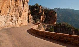 Winding road. In Corsica near Porto royalty free stock image