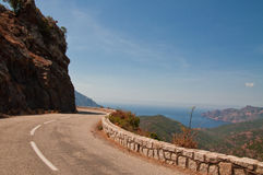 Winding road. On Corsica towards Porto Royalty Free Stock Image