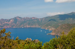 Winding road. On Corsica towards Porto royalty free stock images