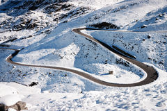 Winding road. At the european alps in winter (grossglockner Royalty Free Stock Photography