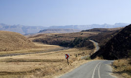 Winding road. Quiet winding road in the South African Drakensberg Royalty Free Stock Photo