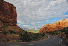 Winding Road. Road Winding Through Red Rock Cliffs Stock Photo