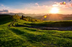 Winding road along the grassy rural hill at sunset. Gorgeous landscape of Carpathian mountain in springtime stock images