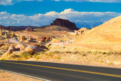 Winding road amid White Domes in Valley of Fire State Park, Neva Stock Image