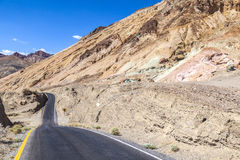 Winding road Artists drive in the Death Valley Stock Photography