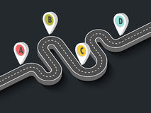 Winding road on a black background. Road trip and Journey route. Business and Journey Infographic Design Template with pin pointer. Winding road on a black Royalty Free Stock Images