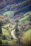 Winding road in black forest valley, Germany Royalty Free Stock Images