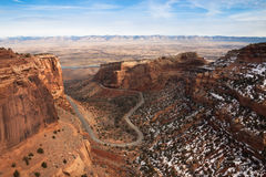 Winding road in a canyon of Colorado National Monument. Road in a canyon of Colorado National Monument Stock Photos