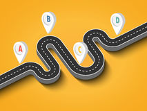Winding road on a colorful background. Road trip and Journey route. Business and Journey Infographic Design Template with pin pointer. Winding road on a colorful Royalty Free Stock Images