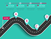 Winding road on a colorful background. Road trip and Journey route with pin pointer. Business and Journey Infographic Design Template with flags and place for Stock Images