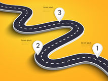 Winding Road on a Colorful Background. Road way location infographic template with pin pointer. Vector EPS 10 Royalty Free Stock Photo