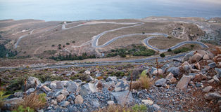 Winding road in Crete Stock Photography