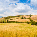 Winding road in crete senesi Tuscany, Italy Stock Photos