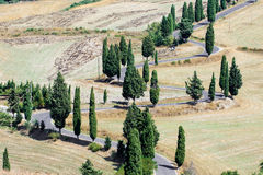 Winding road in Crete Senesi Tuscany Stock Image