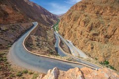 Winding road in Dades gorge, Morocco Royalty Free Stock Photo