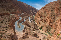 Winding road in Dades gorge, Morocco Stock Images