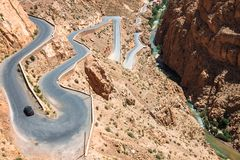 Winding road in Dades Valley, Morocco, Africa.  Royalty Free Stock Photo