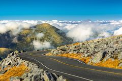Winding road descending from Mount Washington, NH royalty free stock images