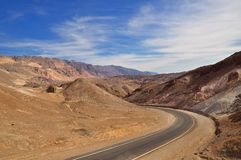 Winding road in the desert. In Death Valley National Park Royalty Free Stock Photography