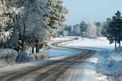 The winding road. Disappears behind the beautiful juniper tree in the sunny and frosty winter landscape stock photos