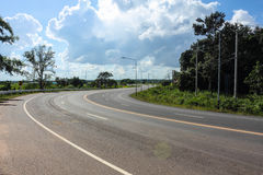 Winding Road. Road winding down from the dam  at Na Chueak district,Province Mahasarakham ,in Thailand Royalty Free Stock Images
