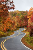 Winding Road in the Fall. North Carolina curvy winding road in the fall Royalty Free Stock Image