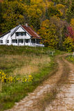 Winding Road and Farmhouse - Autumn / Fall - Vermont Stock Photo