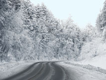 Winding road in the forest in winter. Winding road in the hills with snow-covered forest Stock Image