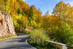 Winding road through forested mountains. Beautiful autumn weather on sunny afternoon Royalty Free Stock Photography