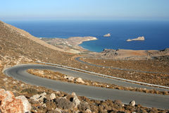 Winding road in Greece Royalty Free Stock Images