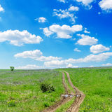 Winding road in green grass Stock Photos