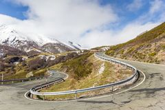 Winding road with hairpin bend in Picos de Europa. Winding road with a hairpin bend in Picos de Europa National Park, Spain stock image