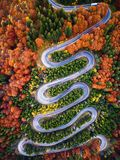 Winding road from high mountain pass, in autumn season, with orange forest royalty free stock photos