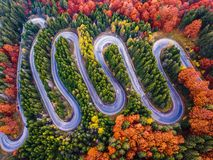 Winding road from high mountain pass, in autumn season, with orange forest stock photography