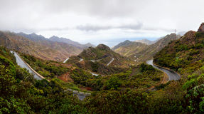 Winding road in high mountains panorama Stock Photography