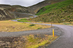 Winding Road through Iceland Volcanic Landscape Stock Photo