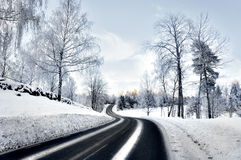 Winding Road In Winter Stock Image