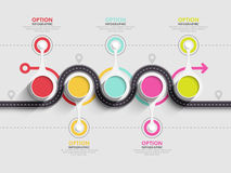 Winding road infographic template with a phased structure Stock Images