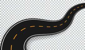 Winding Road Isolated Transparent Special Effect. Road way location infographic template. Vector EPS 10 royalty free illustration
