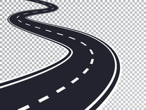 Winding Road Isolated Transparent Special Effect. Road way location infographic template. Vector EPS 10 Stock Photography