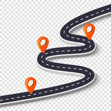 Winding road isolated on a white background. Road way location infographic template with pin pointer. Vector image Stock Photos