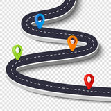 Winding road isolated on a white background. Road way location infographic template with pin pointer. Vector image Stock Photo