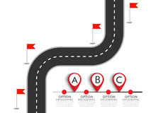 Winding Road isolated on a white background. Road trip and Journey route with pin pointer. Business and Journey Infographic Design Template with flags and place Royalty Free Stock Photography
