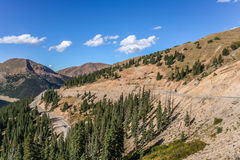 Winding road on the Loveland Pass in Colorado. USA royalty free stock photo